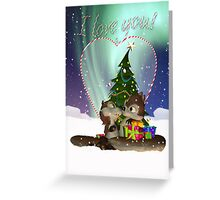 I Love You Cute Squirrel Christmas Card With Snow Gifts And Candy Cane Glass Heart Greeting Card
