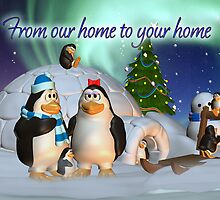 Penguine Family Holiday Card Christmas Card by Moonlake