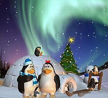 Penguine Family In The Snow Winter Card/Poster by Moonlake