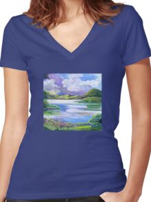 Approaching storm Maroon Dam  Women's Fitted V-Neck T-Shirt