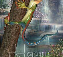 Cute Lizard On A Tree Birthday Card, Happy Birthday by Moonlake