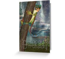 Cute Lizard On A Tree Birthday Card, Happy Birthday Greeting Card