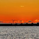 Sunset behind the storm surge barrier by Adri  Padmos