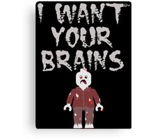 I WANT YOUR BRAINS ZOMBIE MINIFIG Canvas Print