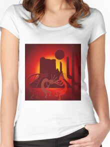 Southwest Kokopelli in Red Women's Fitted Scoop T-Shirt