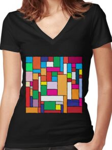 Colorful Tiles Women's Fitted V-Neck T-Shirt