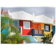 A row of new colored houses in Tenerife Poster