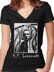 H.P. Lovecraft T-Shirt. Women's Fitted V-Neck T-Shirt