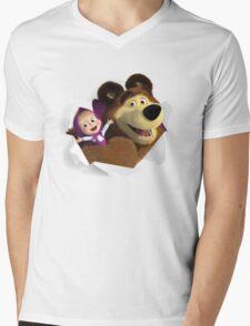 Masha and the Bear Mens V-Neck T-Shirt