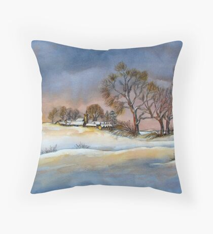 All Snuggled in Snow Throw Pillow