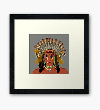Native American Indian Chief  Framed Print