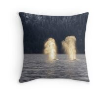 Backlit Whale Blows Throw Pillow