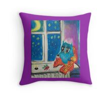 Insomniac owl Throw Pillow