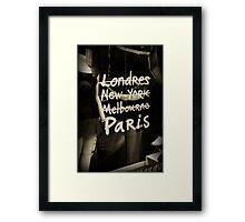 London, New York, Melbourne, Paris Framed Print
