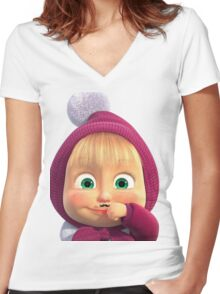 Masha and the Bear 2 Women's Fitted V-Neck T-Shirt