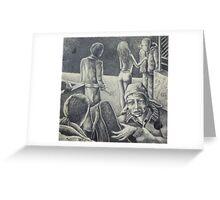 sheridan and colfax. graphite, oil on wood. 7''x7''. adam sturch Greeting Card