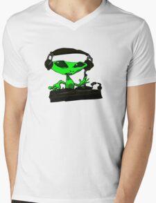 Alien DJ Mens V-Neck T-Shirt