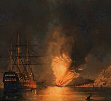 Explosion of the United States Steam Frigate Missouri, at Gibraltar 1843 by Dennis Melling