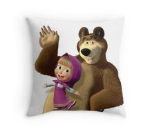Masha and the Bear 3  Throw Pillow