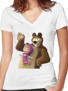 Masha and the Bear 3  Women's Fitted V-Neck T-Shirt