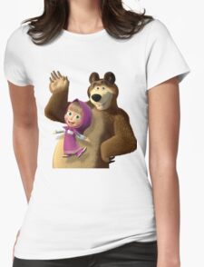 Masha and the Bear 3  Womens Fitted T-Shirt