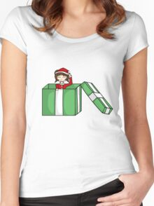 Chibi in a christmas box Women's Fitted Scoop T-Shirt