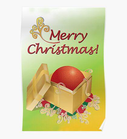 Christmas Gift Box Card Poster