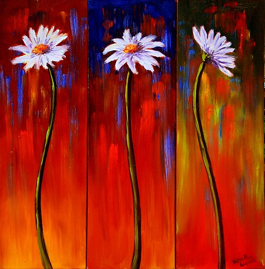 Three White Daisies by sesillie
