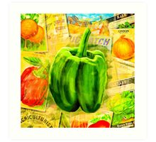 Green Bell Pepper On A Vintage Collage Art Print
