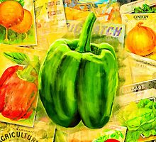 Green Bell Pepper On A Vintage Collage by Mark Tisdale