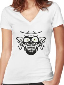 Hatbox Ghost - Wallpaper-Style Women's Fitted V-Neck T-Shirt