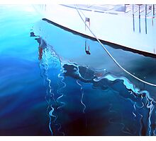 Yacht Reflection - Oil on Canvas Photographic Print