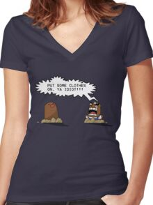 Resetti and Diglett: Two Angry Moles Women's Fitted V-Neck T-Shirt