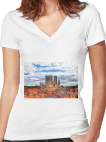 Lincoln Cathedral Landscape Women's Fitted V-Neck T-Shirt