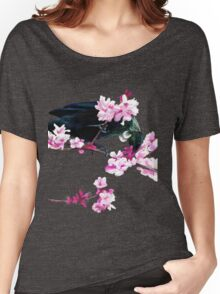Tui Feeding on Cherry Blossoms: Metallic Women's Relaxed Fit T-Shirt