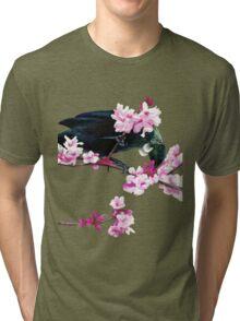 Tui Feeding on Cherry Blossoms: Metallic Tri-blend T-Shirt