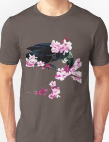 Tui Feeding on Cherry Blossoms: Metallic Unisex T-Shirt