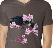 Tui Feeding on Cherry Blossoms: Metallic Mens V-Neck T-Shirt
