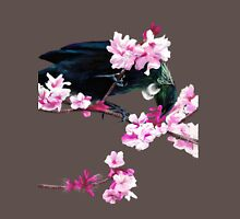 Tui Feeding on Cherry Blossoms: Metallic Mens V-Neck T-Shirt
