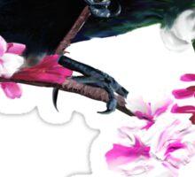 Tui Feeding on Cherry Blossoms: Metallic Sticker
