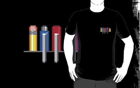 8Bit Nerd Pocket Pixels - 4 dark shirt by fuxi
