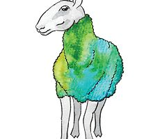 Psychedelic sheep: Blue Faced Leicester, teal/green by mercedesknits