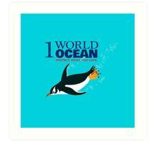 1 World Ocean - Gentoo Penguin Art Print