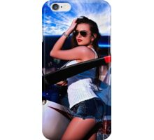 Fashion Girl and Airplane Fine Art Print iPhone Case/Skin
