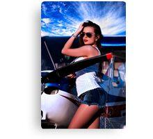 Fashion Girl and Airplane Fine Art Print Canvas Print