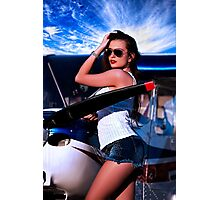 Fashion Girl and Airplane Fine Art Print Photographic Print