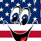 USA Flag Happy Smiley Face Emoticon   by CroDesign
