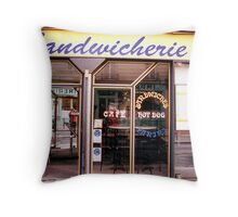 Paris sandwich shop Throw Pillow