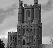 Ely Cathedral Tower B&W by evilcat