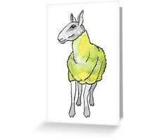 Psychedelic sheep: Blue Faced Leicester, yellow/green Greeting Card